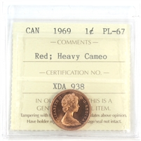 1969 Canada 1-cent ICCS Certified PL-67 Red; Heavy Cameo