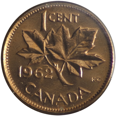1962 Hanging 2 Canada 1-cent Brilliant Uncirculated (MS-63)