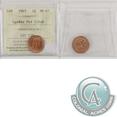 1965 Canada Large Beads Pointed 5 1 Cent ICCS Certified MS 65 Red