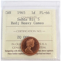 1965 Canada Sml Bds Blt 5 1-cent ICCS Certified PL-66 Red Heavy Cameo