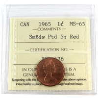 1965 Canada Small Beads Pointed 5 1-cent ICCS Certified MS-65 Red