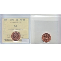 1970 Canada 1-cent ICCS Certified MS-66 Red