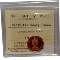 1971 Canada 1-cent ICCS Certified PL-65 Red Ultra Heavy Cameo