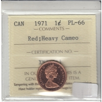 1971 Canada 1-cent ICCS Certified PL-66 Red Heavy Cameo
