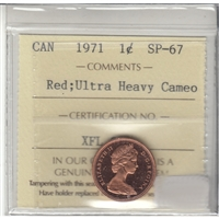1971 Canada 1-cent ICCS Certified SP-67 Red Ultra Heavy Cameo
