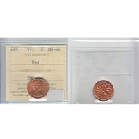 1971 Canada 1-cent ICCS Certified MS-66 Red