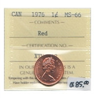 1976 Canada 1-cent ICCS Certified MS-66 Red