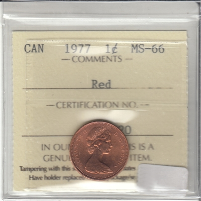 1977 Canada 1-cent ICCS Certified MS-66 Red