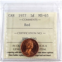 1977 Canada 1-cent ICCS Certified MS-65 Red