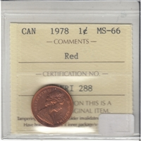 1978 Canada 1-cent ICCS Certified MS-66 Red
