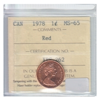1978 Canada 1-cent ICCS Certified MS-65 Red