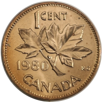 1980 Canada 1-cent Brilliant Uncirculated (MS-63)