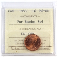 1983 Canada Far Beads 1-cent ICCS Certified MS-66 Red  (XEJ  089)-
