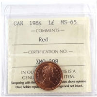 1984 Canada 1-cent ICCS Certified MS-65 Red