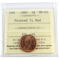 1985 Canada 1-cent ICCS Certified MS-65 Pointed 5; Red