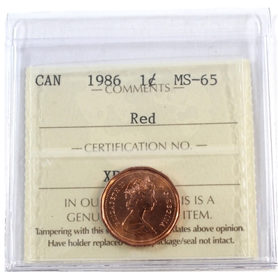 1986 Canada 1-cent ICCS Certified MS-65 Red
