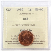 1989 Canada 1-cent ICCS Certified MS-66 Red