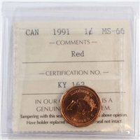 1991 Canada 1-cent ICCS Certified MS-66 Red