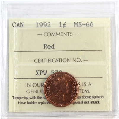 1992 Canada 1-cent ICCS Certified MS-66 Red