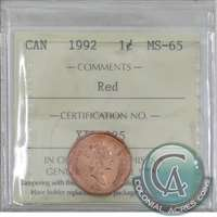 1992 Canada 1-cent ICCS Certified MS-65 Red