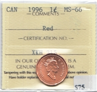 1996 Canada 1-cent ICCS Certified MS-66 Red