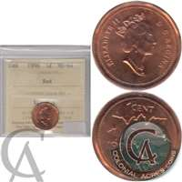 1996 Canada 1-cent ICCS Certified MS-64 Red