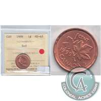 1999 Canada 1-cent ICCS Certified MS-65 Red
