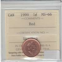 1999 Canada 1-cent ICCS Certified MS-66 Red
