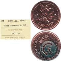 1999 Canada 1-cent ICCS Certified MS-67 Red Numismatic BU