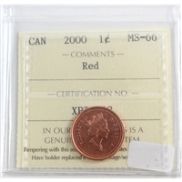 2000 Canada 1-cent ICCS Certified MS-66 Red