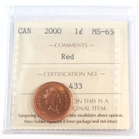 2000 Canada 1-cent ICCS Certified MS-65 Red