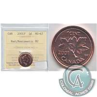 2001P Canada 1-cent ICCS Certified MS-67 Red Numismatic BU