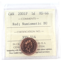 2001P Canada 1-cent ICCS Certified MS-66 Red; Numismatic BU