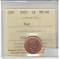 2001 Canada 1-cent ICCS Certified MS-66 Red