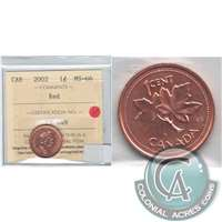 2002 Canada 1-cent ICCS Certified MS-66 Red