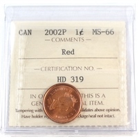2002P Canada 1-cent ICCS Certified MS-66 Red