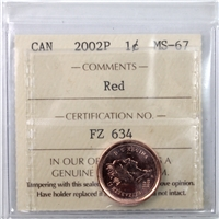 2002P Canada 1-cent ICCS Certified MS-67 Red
