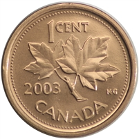 2003 Canada New Effigy 1-cent Brilliant Uncirculated (MS-63)