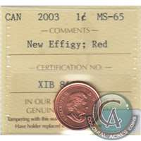 2003 Canada New Effigy 1-cent ICCS Certified MS-65 Red