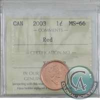 2003 Canada Old Effigy 1-cent ICCS Certified MS-66 Red