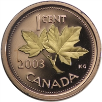 2003 Canada Old Effigy Gold Plated 1-cent Proof