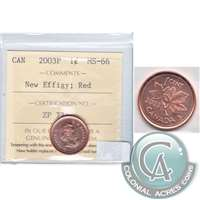 2003P Canada New Effigy 1-cent ICCS Certified MS-66 Red