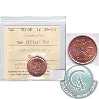 2003P Canada New Effigy 1-cent ICCS Certified MS-65 Red