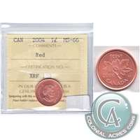 2004 Canada 1-cent ICCS Certified MS-66 Red