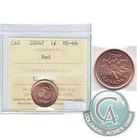 2004P Canada 1-cent ICCS Certified MS-66 Red