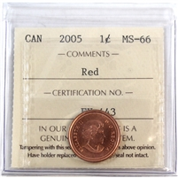 2005 Canada 1-Cent ICCS Certified MS-66 Red