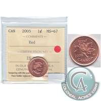 2005 Canada 1-cent ICCS Certified MS-67 Red