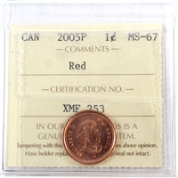2005P Canada 1-cent ICCS Certified MS-67 Red