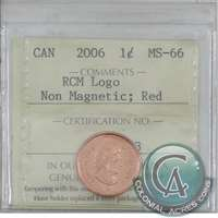 2006 Canada Logo Non-Magnetic 1-cent ICCS Certified MS-66 Red
