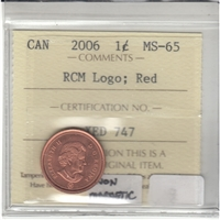 2006 Canada Logo Non Magnetic 1-cent ICCS Certified MS-65 Red